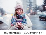 young women on city street... | Shutterstock . vector #1005984457