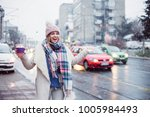 young women on city street... | Shutterstock . vector #1005984493