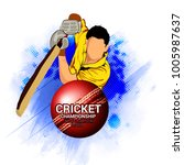 cricket championship batsman... | Shutterstock .eps vector #1005987637