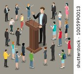 flat isometric politician or... | Shutterstock .eps vector #1005990013