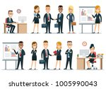 flat style business people... | Shutterstock .eps vector #1005990043