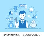 flat style linear young man... | Shutterstock .eps vector #1005990073