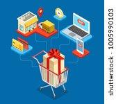 online shopping flat 3d... | Shutterstock .eps vector #1005990103