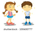 sparkling clean boy and girl  ... | Shutterstock . vector #100600777