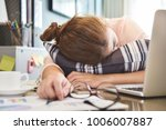 exhausted  tired asian... | Shutterstock . vector #1006007887