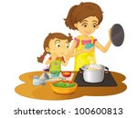 illustration of mother cooking... | Shutterstock . vector #100600813