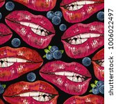 embroidery lips and bilberry.... | Shutterstock .eps vector #1006022497