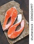 fresh salmon on a concrete...   Shutterstock . vector #1006026997