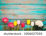 colorful flowers on vintage... | Shutterstock . vector #1006027033