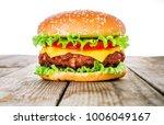 tasty and appetizing hamburger... | Shutterstock . vector #1006049167