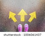 pink shoe standing on a tarmac... | Shutterstock . vector #1006061437