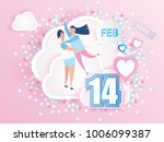 love couple hugging on clouds... | Shutterstock .eps vector #1006099387