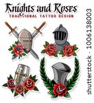vector knights and roses tattoo ... | Shutterstock .eps vector #1006138003