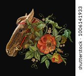 embroidery horse head and wild... | Shutterstock .eps vector #1006141933