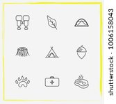 camping line icon set paw  nut...   Shutterstock .eps vector #1006158043