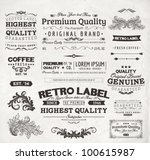 Retro elements for calligraphic designs | Vintage ornaments | Premium Quality labels | Guaranteed, Coffee and Genuine labels | eps10 vector set | Shutterstock vector #100615987