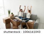euphoric young couple feeling...   Shutterstock . vector #1006161043