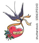 swallow carries over red heart... | Shutterstock .eps vector #1006193143