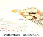 business chart with coins and... | Shutterstock . vector #1006224673