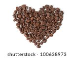 Big coffee heart made of grains, isolated on white - stock photo