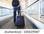 traveler with a suitcase on the ... | Shutterstock . vector #100639087