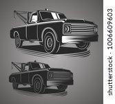 old vintage tow truck vector... | Shutterstock .eps vector #1006609603