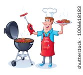guy barbecuing hamburgers and... | Shutterstock .eps vector #1006618183