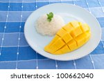 Glutinous rice with mango - stock photo