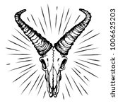skull of a goat with straight... | Shutterstock .eps vector #1006625203