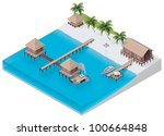 Vector isometric tropical resort - stock vector