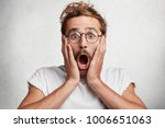 scared frightened male looks... | Shutterstock . vector #1006651063
