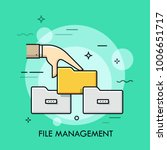 human hand holding folder... | Shutterstock .eps vector #1006651717