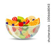 fresh fruit salad in a... | Shutterstock .eps vector #1006668043