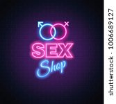 sex shop neon sign brick wall... | Shutterstock .eps vector #1006689127