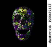 colorful vector polygonal skull ... | Shutterstock .eps vector #1006691653