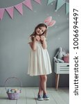 Little Cute Girl With Bunny...