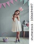 little cute girl with bunny... | Shutterstock . vector #1006694497
