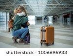 joyful mommy meeting little... | Shutterstock . vector #1006696933