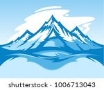 vector snow mountain blue and... | Shutterstock .eps vector #1006713043