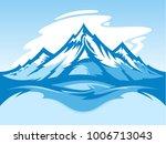 vector snow mountain blue and... | Shutterstock .eps vector #1006713043