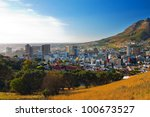 panorama   dawn in cape town... | Shutterstock . vector #100673527