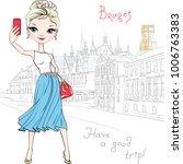 cute fashionable girl makes...   Shutterstock .eps vector #1006763383