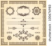 Set of ornamental artistic calligraphic design elements, patterns, swirls, border and dividers in silhouette form on aged vintage paper - stock vector