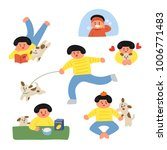 everyday life with a girl's... | Shutterstock .eps vector #1006771483
