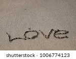 Word Written On The Sand At Th...