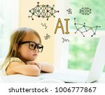 ai text with little girl using...   Shutterstock . vector #1006777867