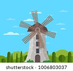 stone windmill building on... | Shutterstock .eps vector #1006803037