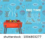bbq time poster with grilled... | Shutterstock .eps vector #1006803277