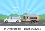 road trip poster with van and... | Shutterstock .eps vector #1006803283