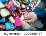 touch of heart. couple lover... | Shutterstock . vector #1006808497